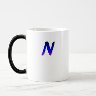 Einfaches Monogramm-blaue weiße Saft-Tasse Verwandlungstasse