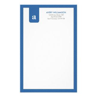Einfaches Monogramm-blaues Designer-Briefpapier Druckpapiere