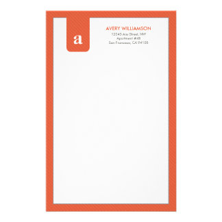 Einfaches Monogramm-Mandarine-Designer-Briefpapier Personalisiertes Druckpapier