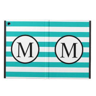 Einfaches Monogramm mit Aqua-horizontalen Streifen