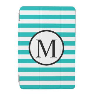 Einfaches Monogramm mit Aqua-horizontalen Streifen iPad Mini Cover