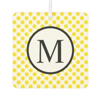 Einfaches Monogramm mit gelben Tupfen Autolufterfrischer
