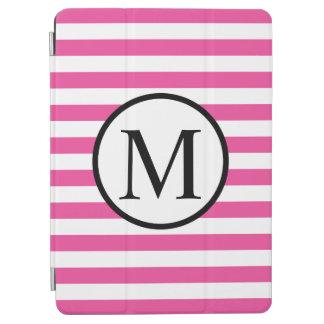 Einfaches Monogramm mit rosa horizontalen Streifen iPad Air Cover