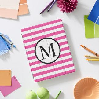 Einfaches Monogramm mit rosa horizontalen Streifen iPad Hülle