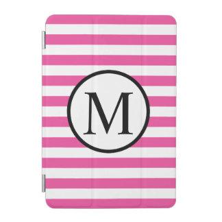 Einfaches Monogramm mit rosa horizontalen Streifen iPad Mini Hülle