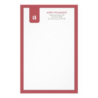 Einfaches Monogramm-Moosbeerdesigner-Briefpapier Personalisiertes Büropapier