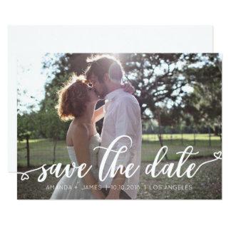 EINFACHES ROMANZE Foto WEISSE HERZEN SAVE THE DATE Karte
