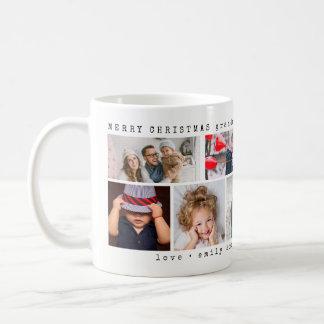 Einfaches sechs Weihnachten der Foto-Collagen-| Kaffeetasse