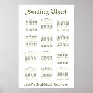 Einfaches weißes Sitzplatz-Diagramm Poster