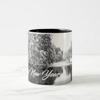 Einfarbige neues Jahr-Thema-Tasse Zweifarbige Tasse