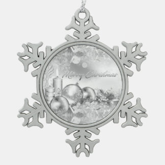Einfarbige Weihnachtsthema Verzierung Schneeflocken Zinn-Ornament
