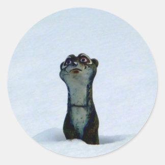 Einfrierender Weasel Runder Aufkleber