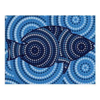 Eingeborene Fischpunktmalerei Postkarte