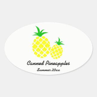 Eingemachter Ananas-Konserven-Aufkleber Ovaler Aufkleber