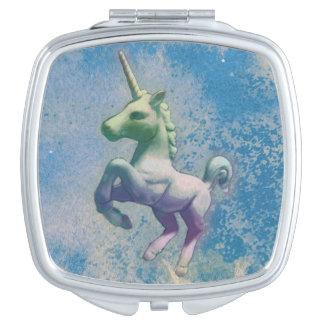 Einhorn-kompaktes Spiegel-Quadrat (blaue Arktis) Taschenspiegel