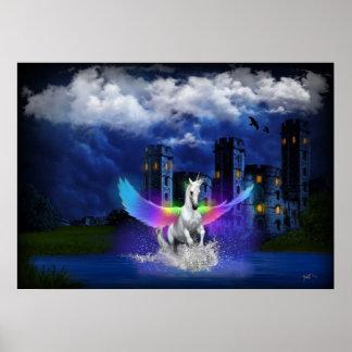 Einhorn mit Regenbogen-Flügeln Poster