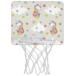 Einhorn-Regenbogen-Wolken und bunte Sterne Mini Basketball Ringe
