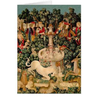 Einhorn-Tapisserie-mittelalterliche Kunst Karte