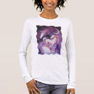 Einhorn und der nächtliche Himmel Langärmeliges T-Shirt