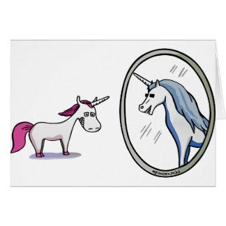 Einhorn vor Spiegel - Unicorn in front of mirror Grußkarte