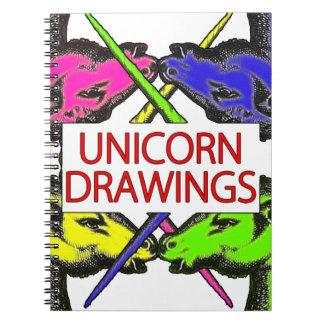 Einhorn-Zeichnungen - lustiges Notizbuch-wirkliche Spiralblöcke