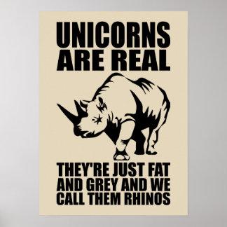 Einhörner sind wirkliche - sie sind Rhinos - Poster