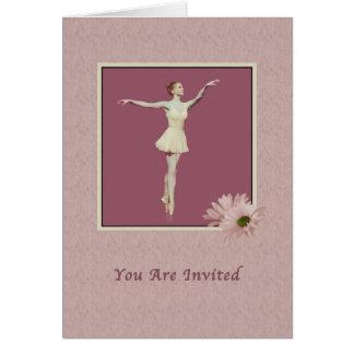 Einladung, Ballerina auf Pointe mit Gänseblümchen Karte