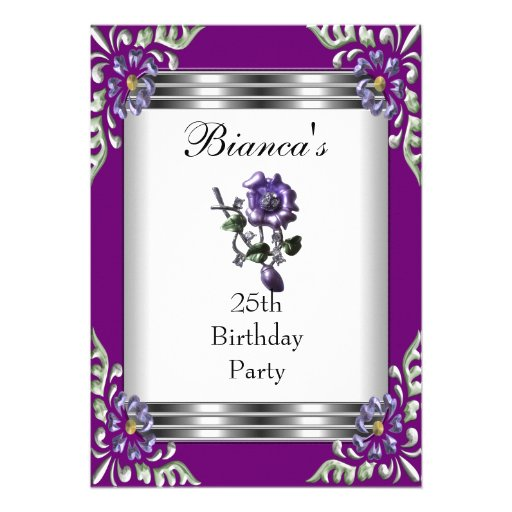Einladungs-25. Geburtstags-elegantes lila Juwel Individuelle Ankündigung