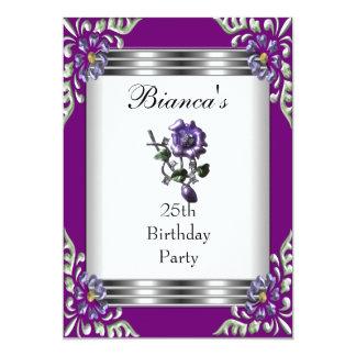 Einladungs-25. Geburtstags-elegantes lila Juwel 12,7 X 17,8 Cm Einladungskarte