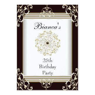 Einladungs-25. Geburtstags-elegantes schwarzes Einladungen