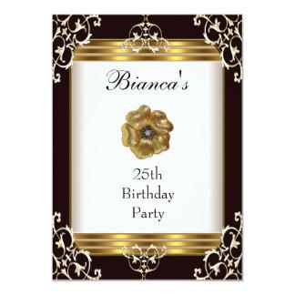 Einladungs-25. Geburtstags-elegantes schwarzes Individuelle Ankündigung