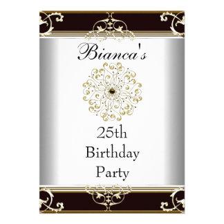 Einladungs-25. Geburtstags-elegantes schwarzes