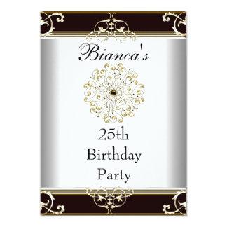 Einladungs-25. Geburtstags-elegantes schwarzes Einladung