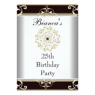 Einladungs-25. Geburtstags-elegantes schwarzes 12,7 X 17,8 Cm Einladungskarte