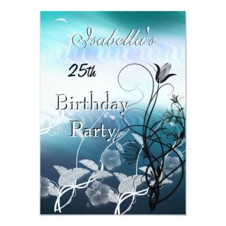 Einladungs-25. Geburtstags-Party-blaues Blumen 12,7 X 17,8 Cm Einladungskarte