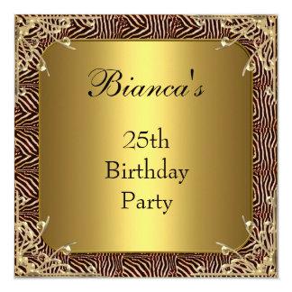 Einladungs-25. Geburtstags-Party-Goldwilde Auslese Quadratische 13,3 Cm Einladungskarte