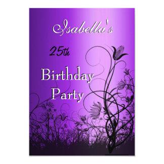 Einladungs-25. Geburtstags-Party-lila Blumen 12,7 X 17,8 Cm Einladungskarte