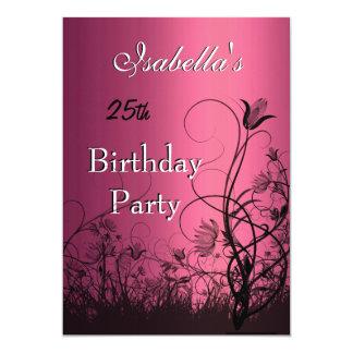 Einladungs-25. Geburtstags-Party-Rosa mit Blumen 12,7 X 17,8 Cm Einladungskarte