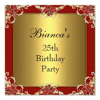 Einladungs-25. Geburtstags-Party-rote Goldauslese Quadratische 13,3 Cm Einladungskarte