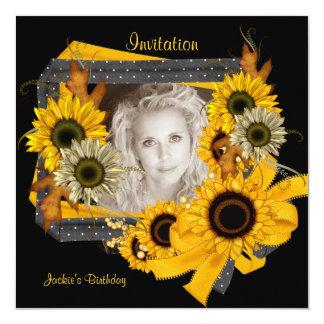 Einladungs-Geburtstags-Foto-Sonnenblume-Rahmen Karte