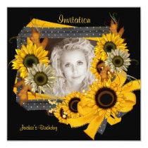 Einladungs-Geburtstags-Foto-Sonnenblume-Rahmen Quadratische 13,3 Cm Einladungskarte