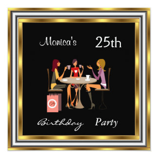 Einladungs-goldenes 25. Geburtstags-Party Quadratische 13,3 Cm Einladungskarte