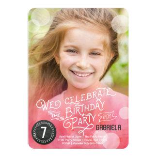 Einladungs-Mädchen Geburtstags-Partywatercolor-| | 12,7 X 17,8 Cm Einladungskarte
