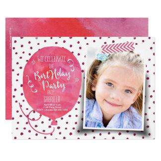 Einladungs-Mädchen Geburtstags-Partywatercolor-| 12,7 X 17,8 Cm Einladungskarte
