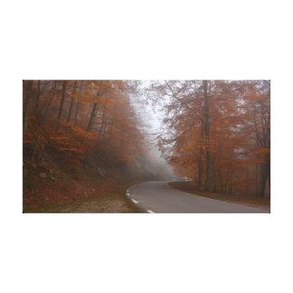 Einsame Straße im herbstlichen Wald Leinwanddruck