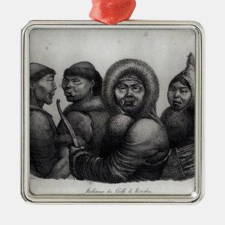 Einwohner des Golfs von Kotzebue Quadratisches Silberfarbenes Ornament