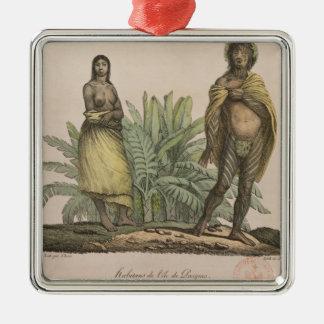 Einwohner von Osterinsel Quadratisches Silberfarbenes Ornament