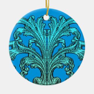 Einzigartiger Vintager Strudel Ombre blauer Rundes Keramik Ornament