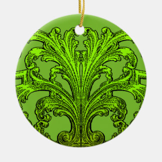 Einzigartiger Vintager Strudel Ombre Grün-Entwurf Rundes Keramik Ornament