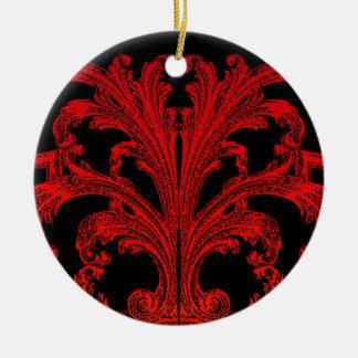 Einzigartiger Vintager Strudel Ombre roter Entwurf Rundes Keramik Ornament